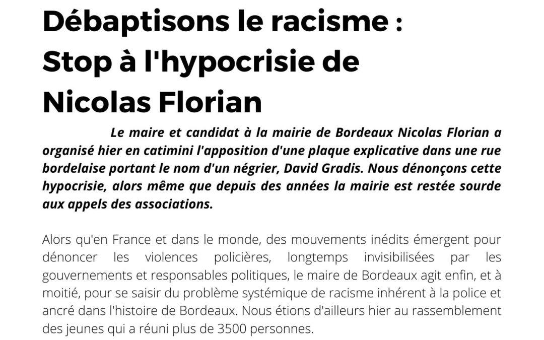 Débaptisons le racisme : Stop à l'hypocrisie de Nicolas Florian.