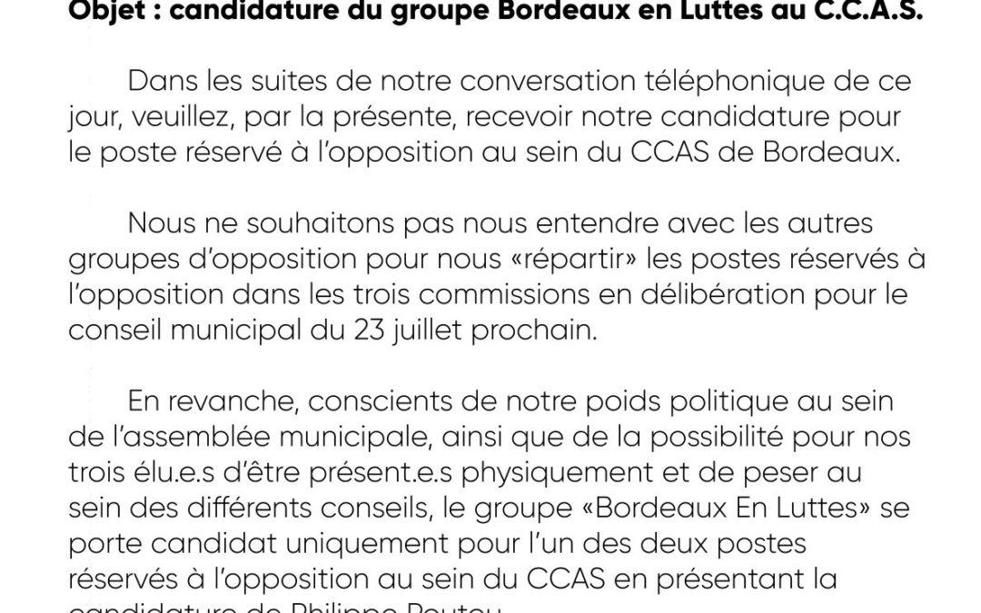 Lettre de Bordeaux en Luttes à Delphine Jamet, adjointe au maire de Bordeaux.